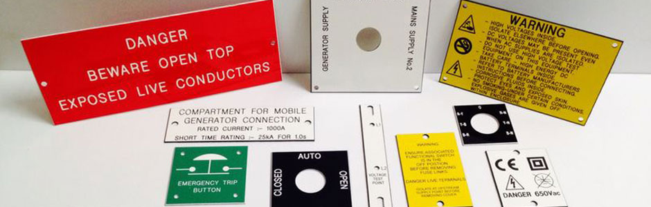 Control panel and warning sign engraved labels