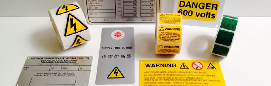 Control panel labelling, warning signs
